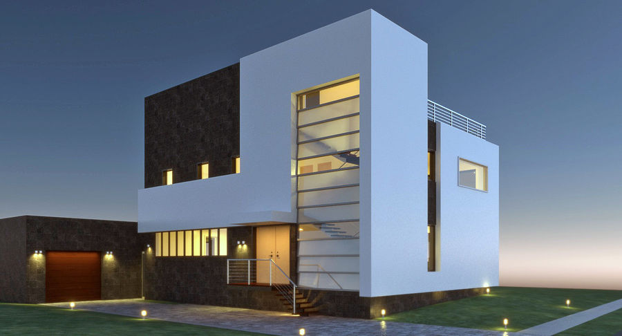 Maison architecture moderne royalty-free 3d model - Preview no. 2