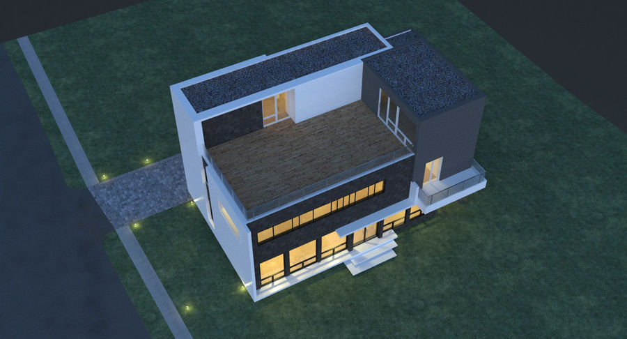 Hus Modern Arkitektur royalty-free 3d model - Preview no. 5