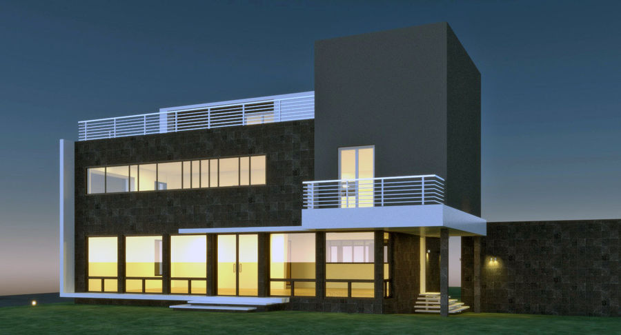 Maison architecture moderne royalty-free 3d model - Preview no. 4