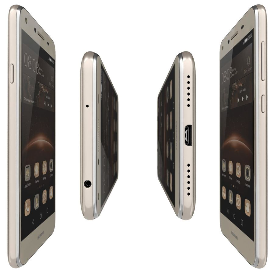 Huawei Y5II Gold royalty-free 3d model - Preview no. 10