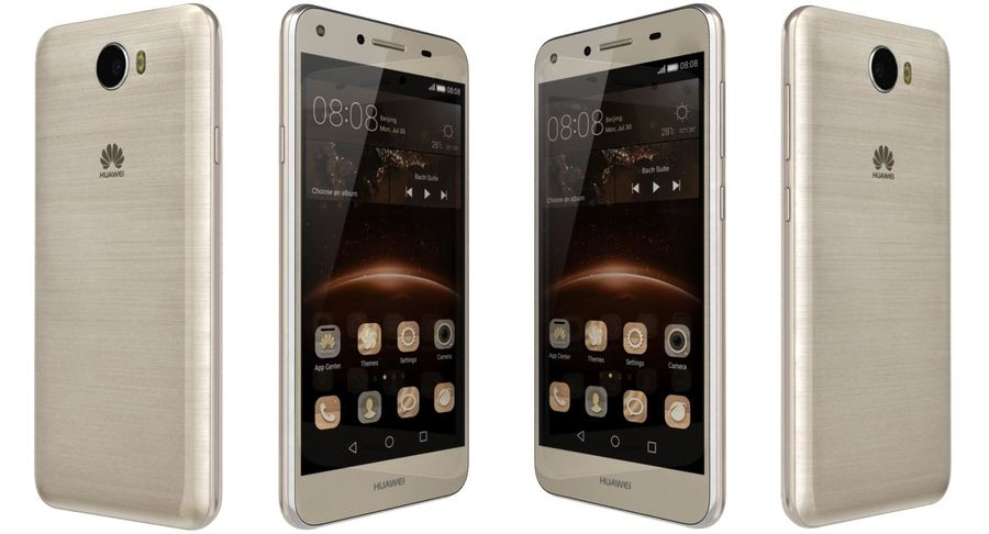 Huawei Y5II Gold royalty-free 3d model - Preview no. 7