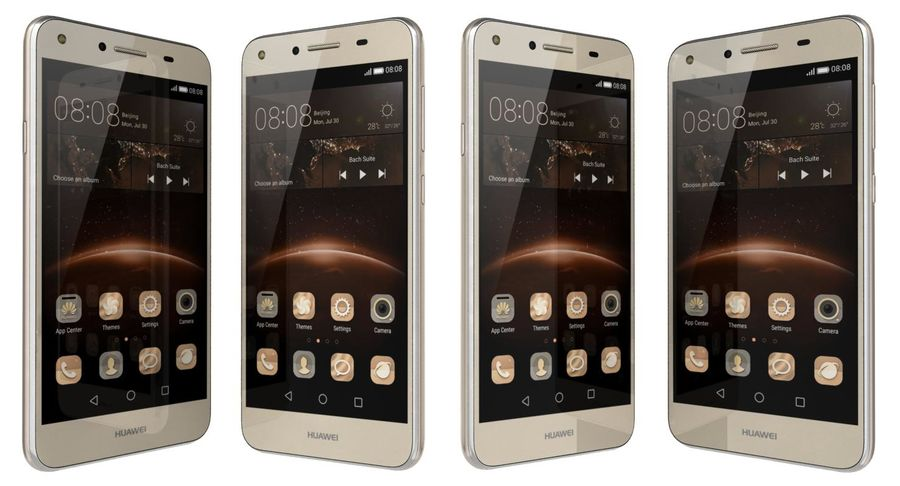 Huawei Y5II Gold royalty-free 3d model - Preview no. 5