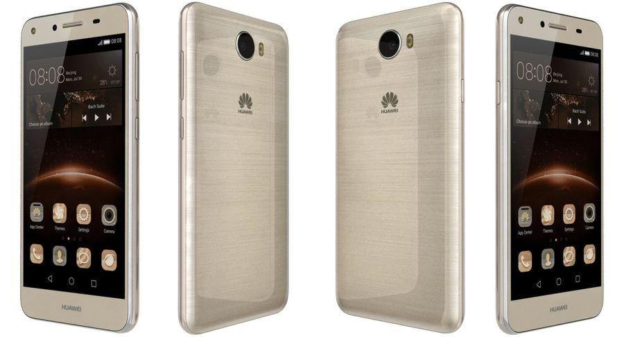 Huawei Y5II Gold royalty-free 3d model - Preview no. 6