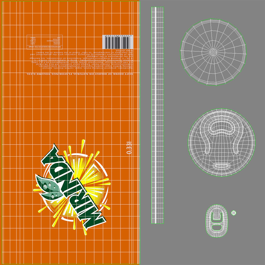 Six Pack of Cans Mirinda 3D Model royalty-free 3d model - Preview no. 30