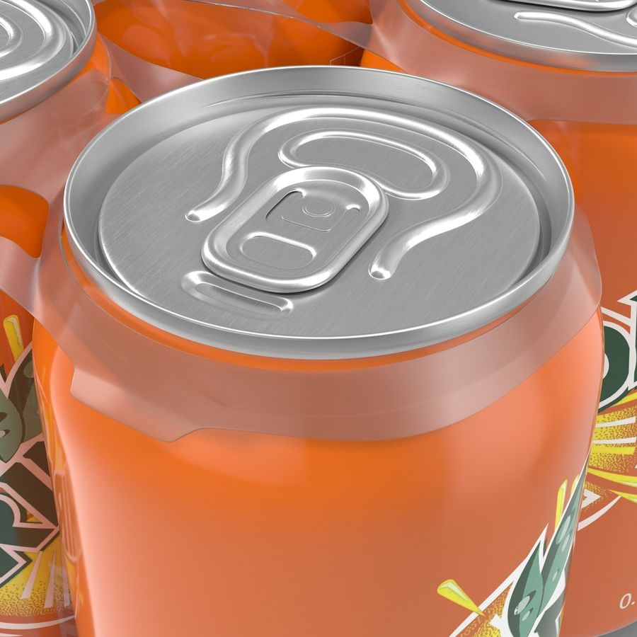 Six Pack of Cans Mirinda 3D Model royalty-free 3d model - Preview no. 24