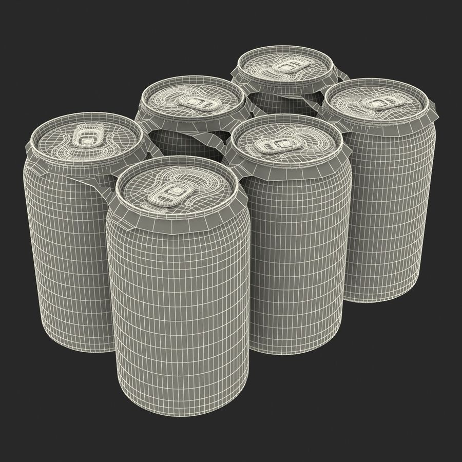 Six Pack of Cans Mirinda 3D Model royalty-free 3d model - Preview no. 36