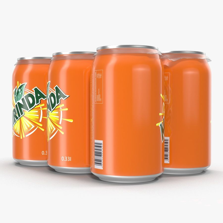 Six Pack of Cans Mirinda 3D Model royalty-free 3d model - Preview no. 15
