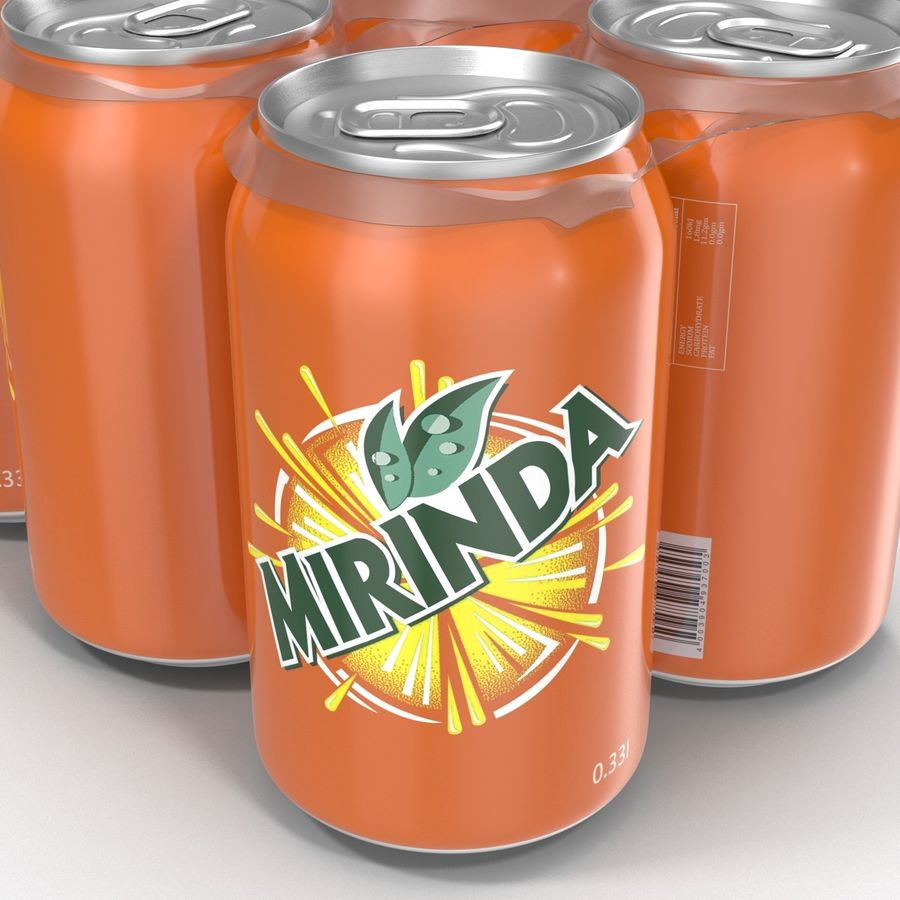 Six Pack of Cans Mirinda 3D Model royalty-free 3d model - Preview no. 23