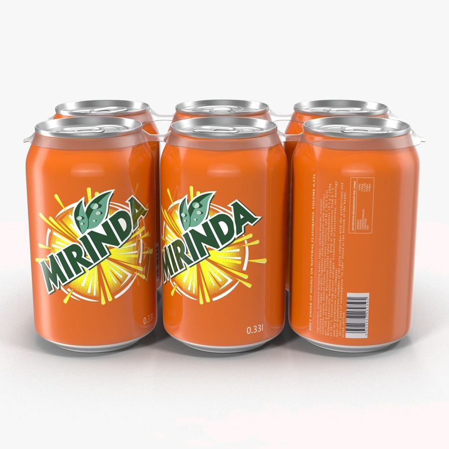 Six Pack of Cans Mirinda 3D Model royalty-free 3d model - Preview no. 5