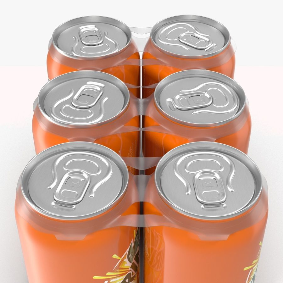 Six Pack of Cans Mirinda 3D Model royalty-free 3d model - Preview no. 21