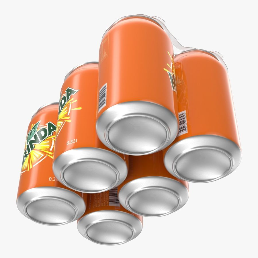 Six Pack of Cans Mirinda 3D Model royalty-free 3d model - Preview no. 19