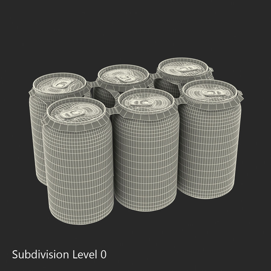 Six Pack of Cans Mirinda 3D Model royalty-free 3d model - Preview no. 26
