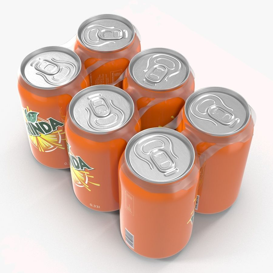 Six Pack of Cans Mirinda 3D Model royalty-free 3d model - Preview no. 9