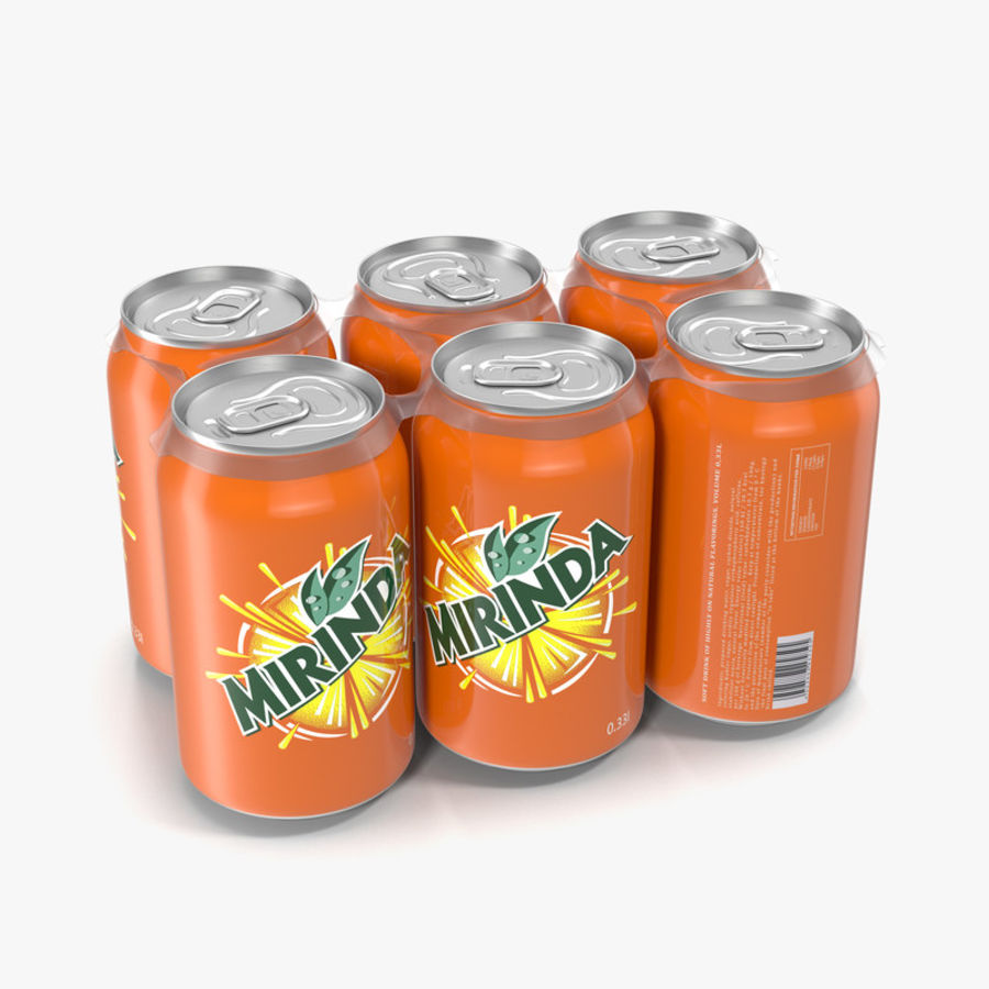 Six Pack of Cans Mirinda 3D Model royalty-free 3d model - Preview no. 1