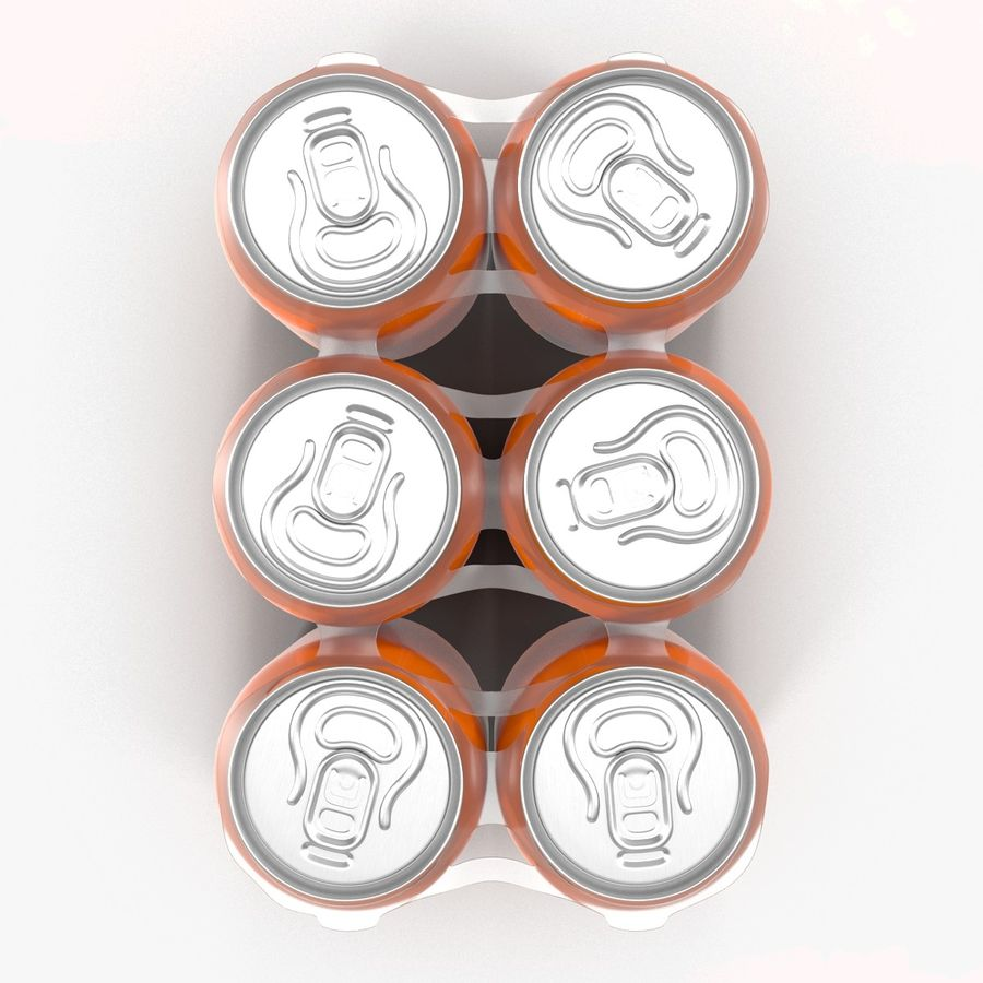 Six Pack of Cans Mirinda 3D Model royalty-free 3d model - Preview no. 17