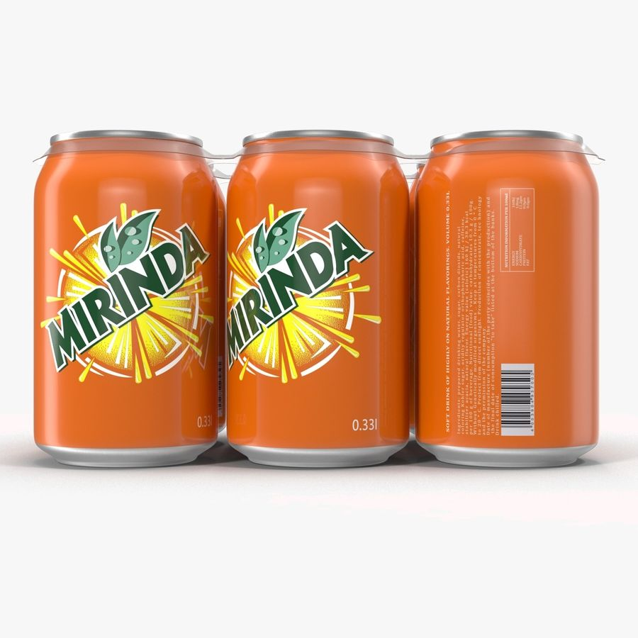 Six Pack of Cans Mirinda 3D Model royalty-free 3d model - Preview no. 11
