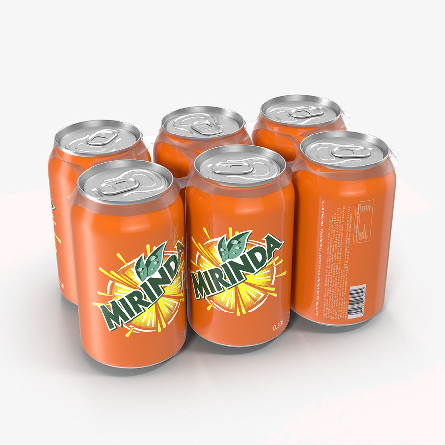Six Pack of Cans Mirinda 3D Model royalty-free 3d model - Preview no. 3