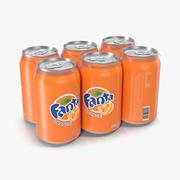 Six Pack of Cans Fanta Model 3D 3d model