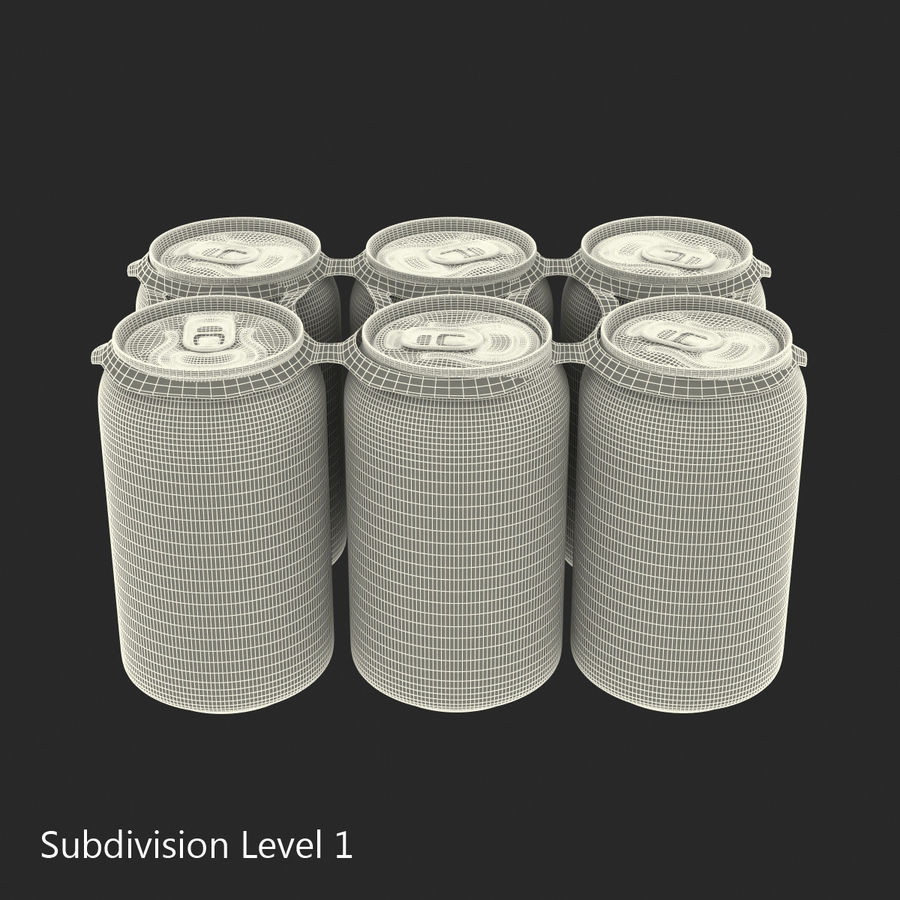 Six Pack of Cans Dr Pepper Zero 3D Model royalty-free 3d model - Preview no. 14