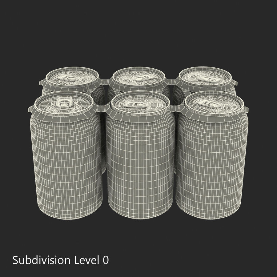 Six Pack of Cans Dr Pepper Zero 3D Model royalty-free 3d model - Preview no. 13