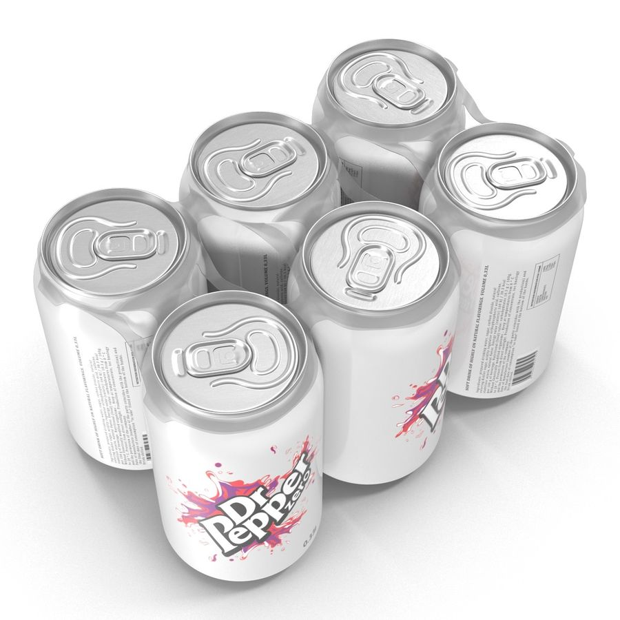 Six Pack of Cans Dr Pepper Zero 3D Model royalty-free 3d model - Preview no. 4