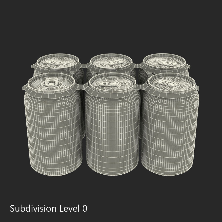 Six Pack of Cans Dr Pepper Zero Modello 3D royalty-free 3d model - Preview no. 13