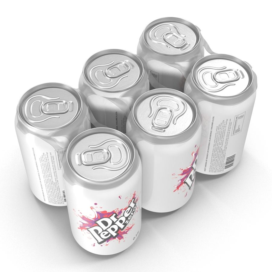 Six Pack of Cans Dr Pepper Zero Modello 3D royalty-free 3d model - Preview no. 4