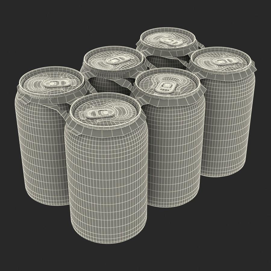 Six Pack of Cans Dr Pepper Zero 3D Model royalty-free 3d model - Preview no. 18