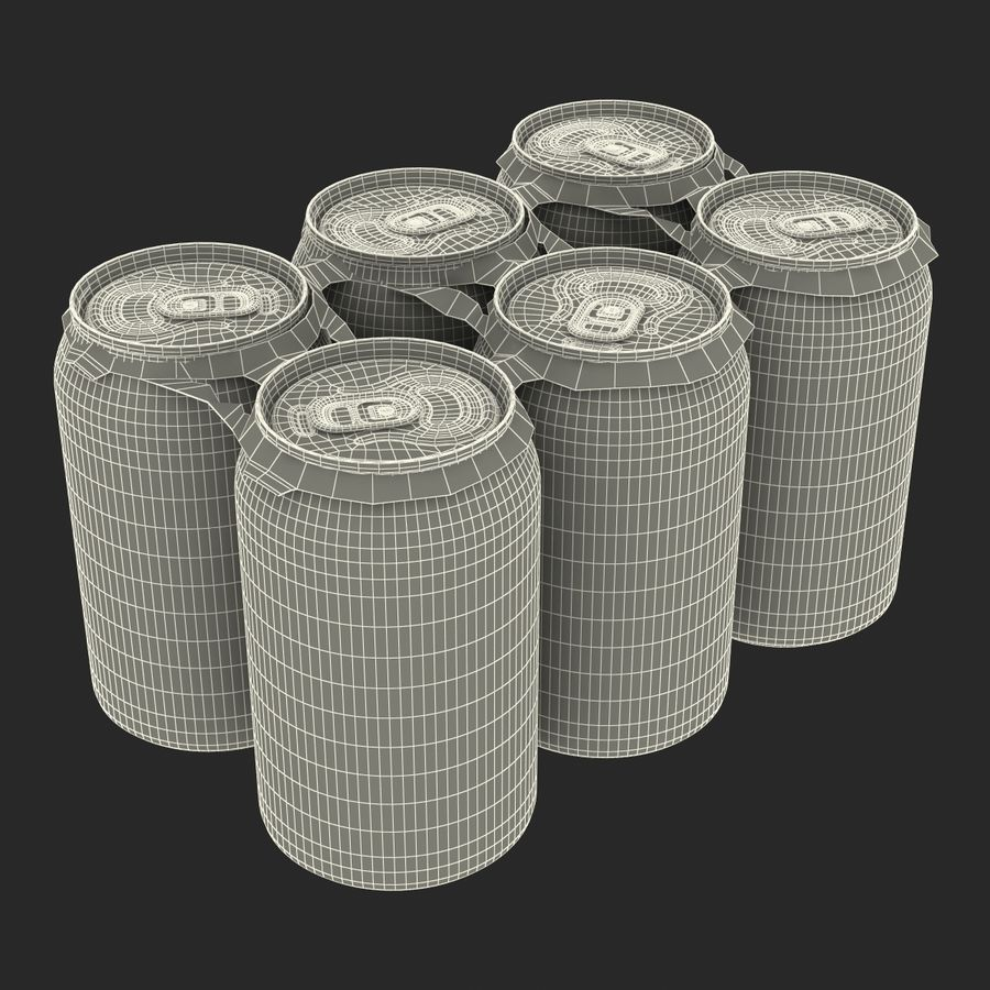 Six Pack of Cans Dr Pepper Zero Modello 3D royalty-free 3d model - Preview no. 18