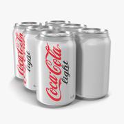 Six Pack of Cans Coca-Cola Light 3D Model 3d model