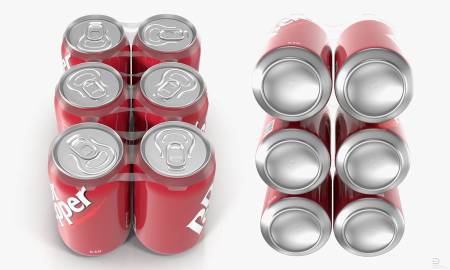Six Pack of Cans Modello Dr Pepper 3D royalty-free 3d model - Preview no. 2