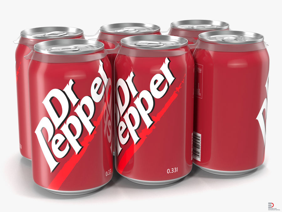 Six Pack of Cans Modello Dr Pepper 3D royalty-free 3d model - Preview no. 1
