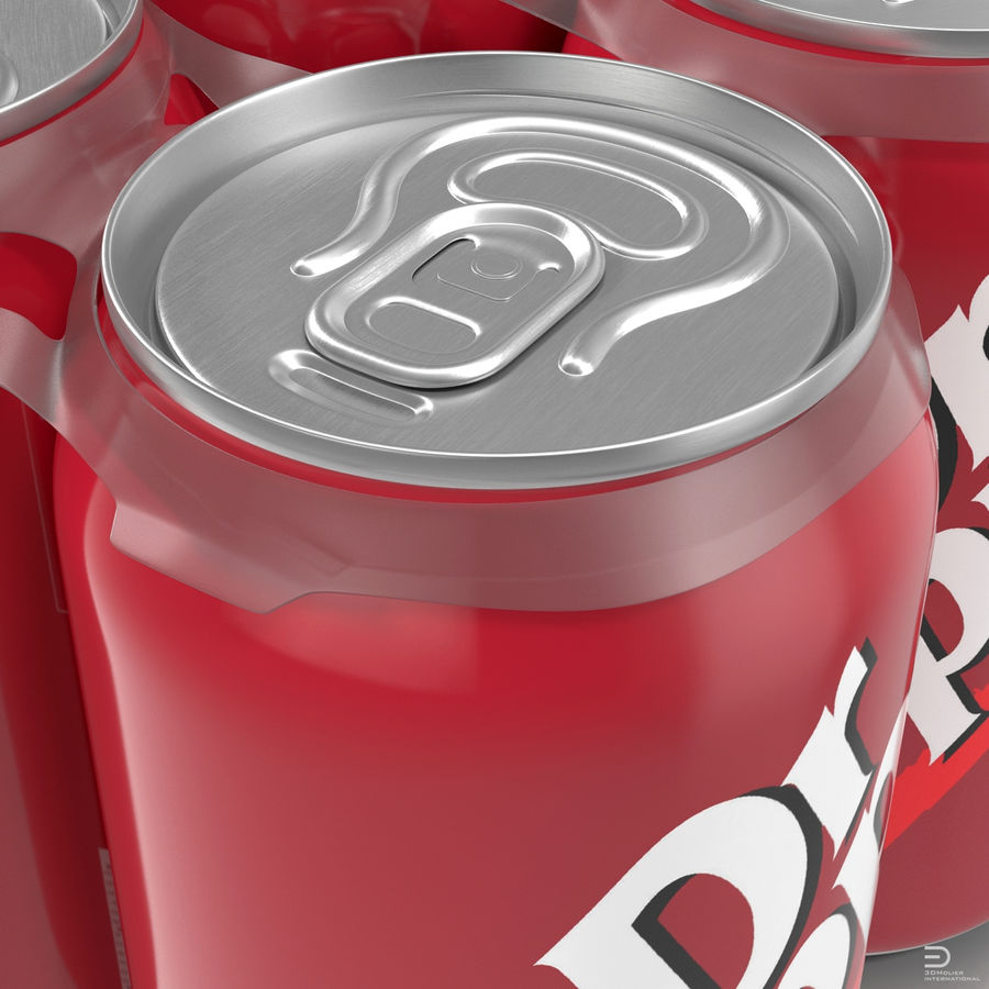 Six Pack of Cans Modello Dr Pepper 3D royalty-free 3d model - Preview no. 5