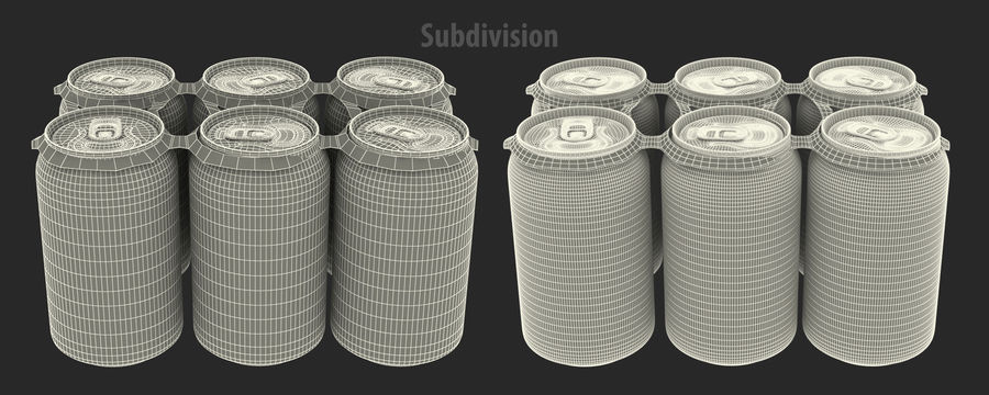Six Pack of Cans Modello Dr Pepper 3D royalty-free 3d model - Preview no. 6