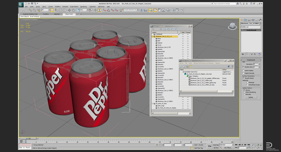 Six Pack of Cans Modello Dr Pepper 3D royalty-free 3d model - Preview no. 9