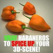 Habanero chili peppers 3d model