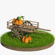 Cart with Pumpkin Cartoon 3d model