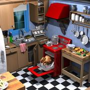 cartoon kitchen 3d model