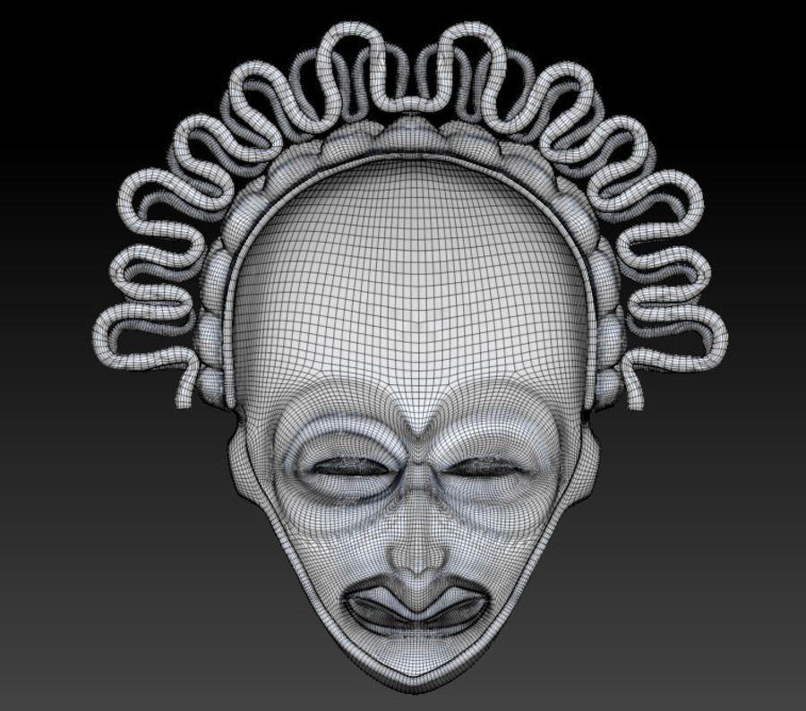 Voodoo Mask royalty-free 3d model - Preview no. 4