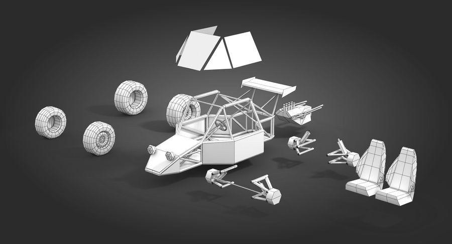 Desert Buggy royalty-free 3d model - Preview no. 13