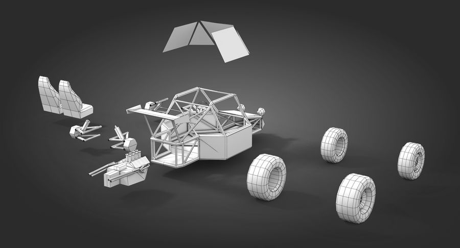 Desert Buggy royalty-free 3d model - Preview no. 14
