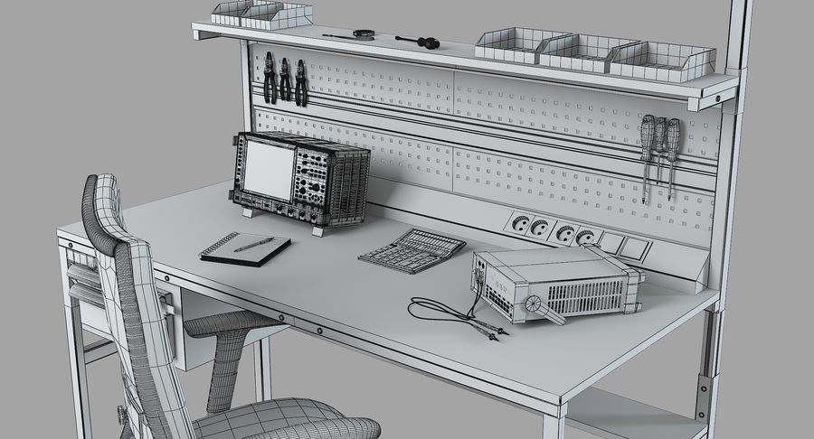 Electronics Workbench royalty-free 3d model - Preview no. 10
