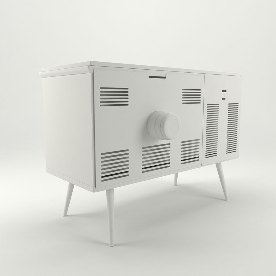 Vintage Olympic TV Console royalty-free 3d model - Preview no. 13