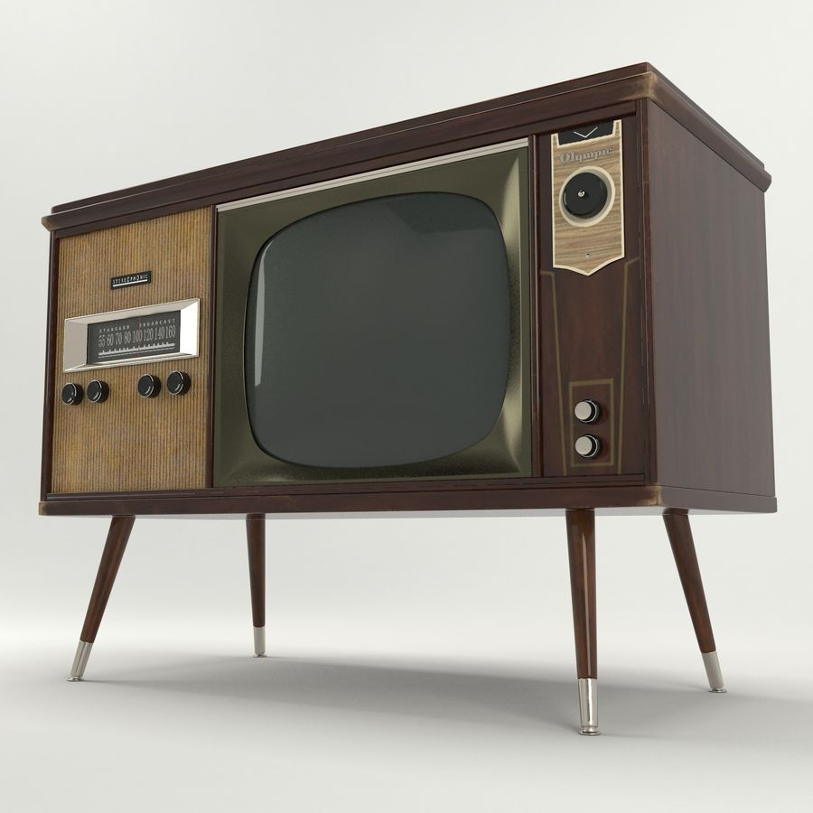 Vintage Olympic TV Console royalty-free 3d model - Preview no. 5