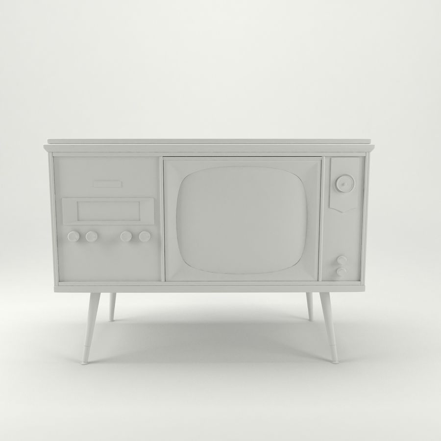 Vintage Olympic TV Console royalty-free 3d model - Preview no. 11