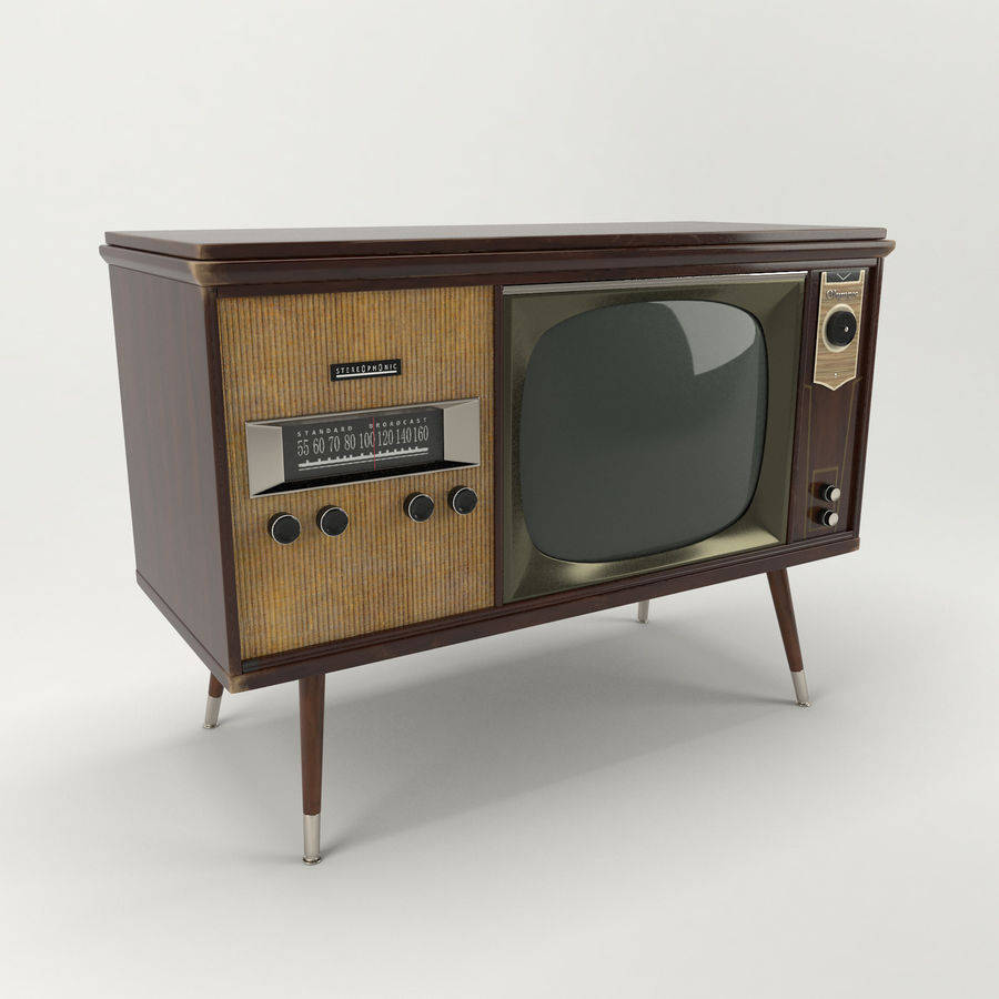 Vintage Olympic TV Console royalty-free 3d model - Preview no. 2