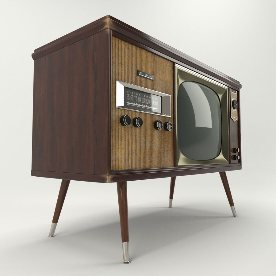 Vintage Olympic TV Console royalty-free 3d model - Preview no. 6