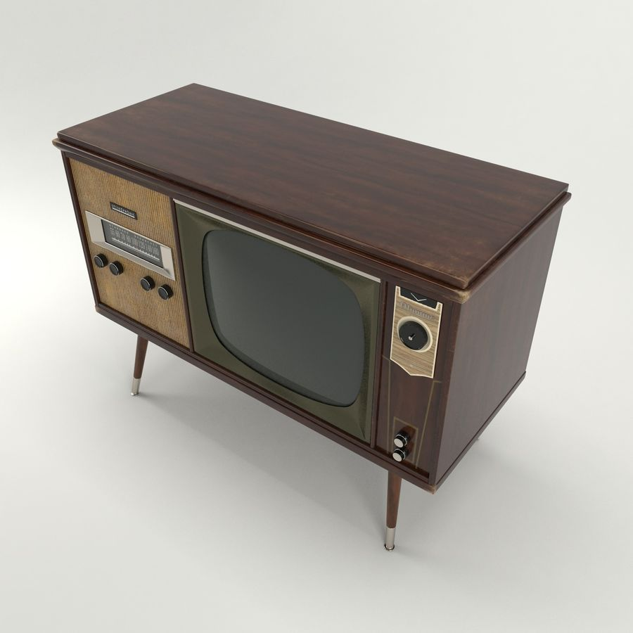 Vintage Olympic TV Console royalty-free 3d model - Preview no. 4