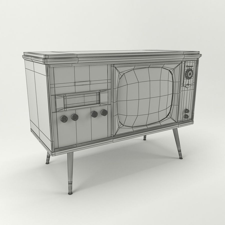Vintage Olympic TV Console royalty-free 3d model - Preview no. 9