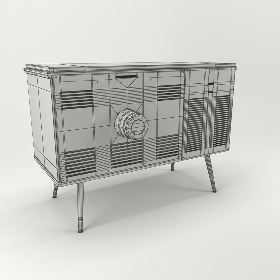 Vintage Olympic TV Console royalty-free 3d model - Preview no. 10